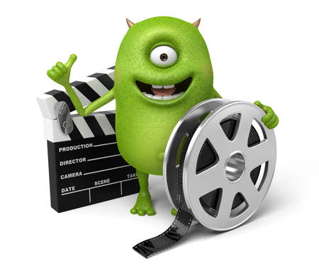 monster movie: The little monster holding plate busy shooting Stock Photo