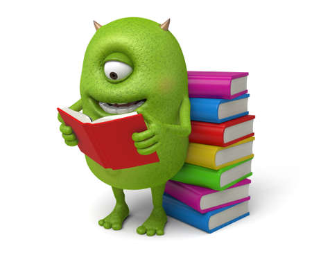 reads: The little monster was happy to read the book Stock Photo