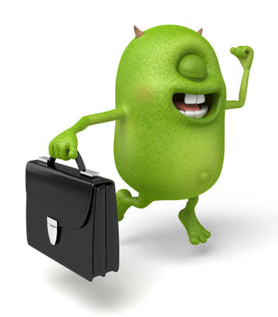 Little monster holding a briefcase in the walk Stock fotó