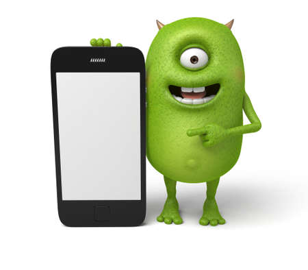 cute monster: The little monster is showing his cell phone
