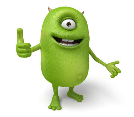The little monster smiled and thumbs up Stock Photo