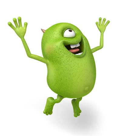 Little monster hopping be full of joy