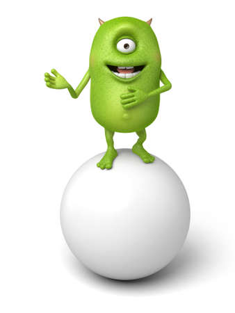 The little monster stands on a big ball