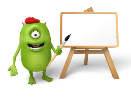 drawing board: The little monster and a drawing board