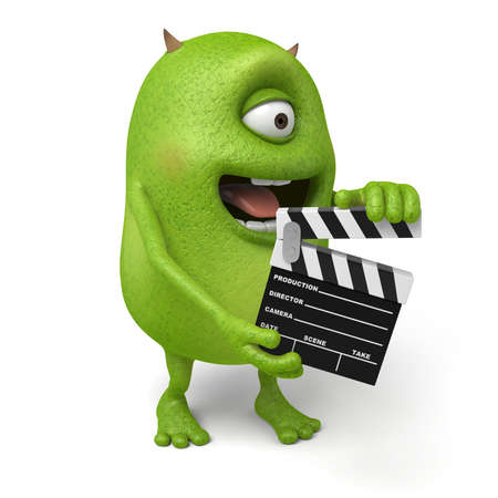 film slate: The little monster holding plate busy shooting Stock Photo