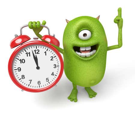 awaken: Little monster and alarm clock Stock Photo