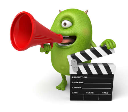 monster movie: The little monster holding the speaker and the shooting board to speak