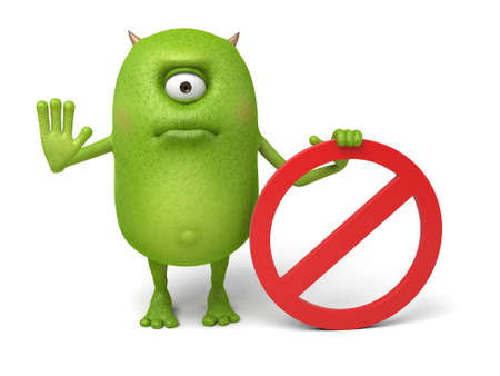 Little monster and a forbidden symbol Stock Photo