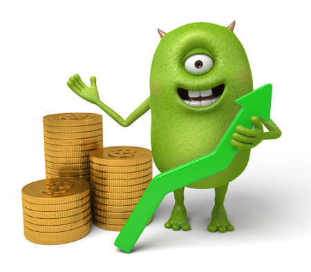 investor: Little monster and economic growth curve Stock Photo