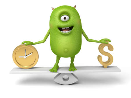 measures: Little monster measures the relationship between time and money