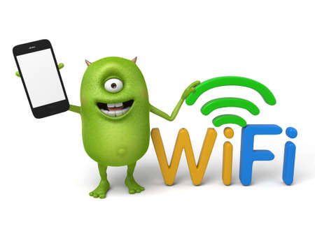 interconnect: Little monster and WiFi signal Stock Photo