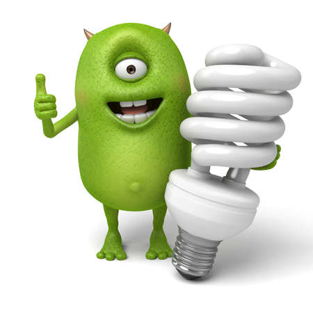 energysaving: Little monster and an energy saving lamp Stock Photo