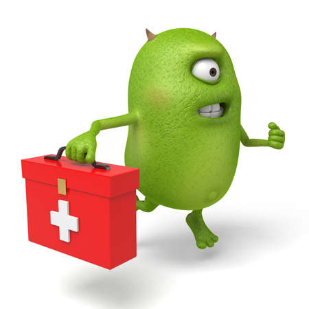 firstaid: Little monster carrying a first-aid box to save