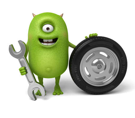 Little monster is changing tires