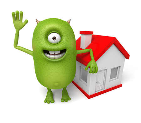 letting: Little monster and a house Stock Photo