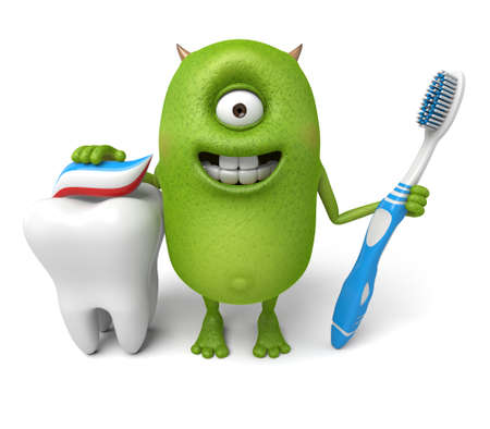 brush the teeth: Little monster ready to brush your teeth Stock Photo