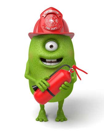Little monster is a fireman