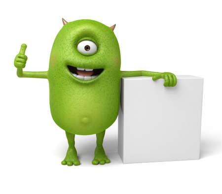 Little monster shows a cube Фото со стока - 48058046