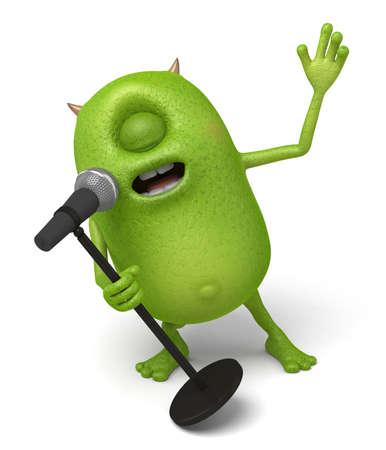 Little monster is singing Stock Photo