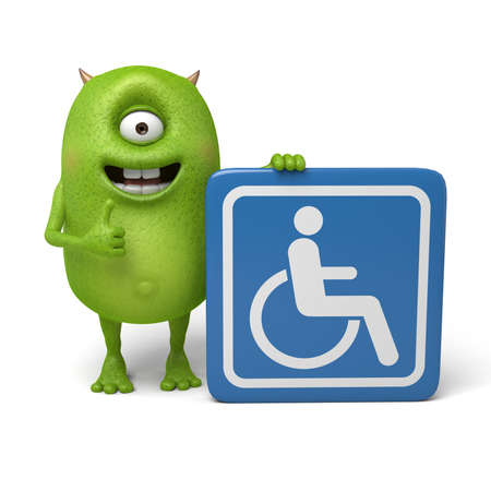 accessible: Little monster and a accessible sign