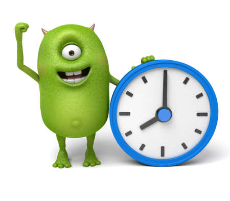 o'clock: Little monster and a clock