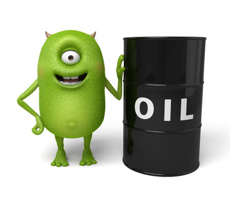 petrol can: Little monster and a gasoline tank Stock Photo