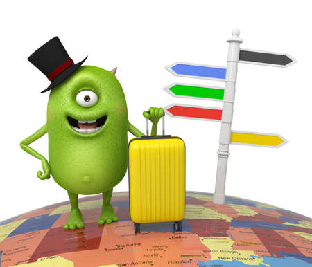 goes: The little monster goes on a journey with his baggage Stock Photo