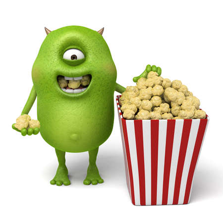 eating popcorn: Little monster is eating popcorn
