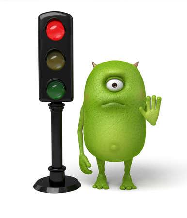Little monster and red light