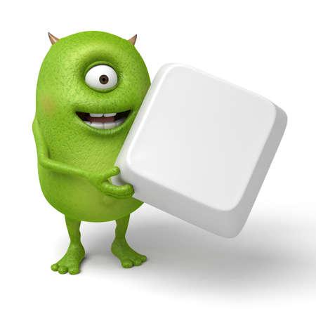 Little monster and a cube Фото со стока