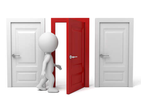 choose person: The 3d guy are going through the door