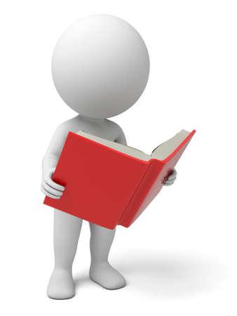 persona leyendo: El tipo 3d está leyendo un libro