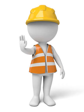 cartoon safety: The 3d guy is a traffic management assistant Stock Photo