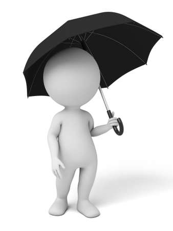 businesses: The 3d guy and an umbrella Stock Photo