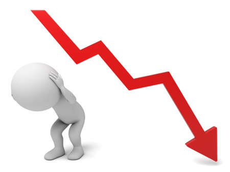 downward: The 3d guy and a downward trend curve Stock Photo