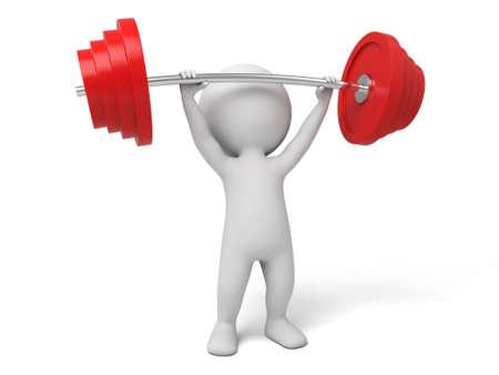 personaje: El tipo 3d está entrenando con levantador de pesas