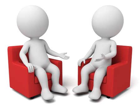 comunicarse: Dos personas 3d están teniendo una discusión