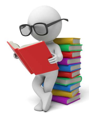 personas leyendo: El chico 3d está leyendo libros
