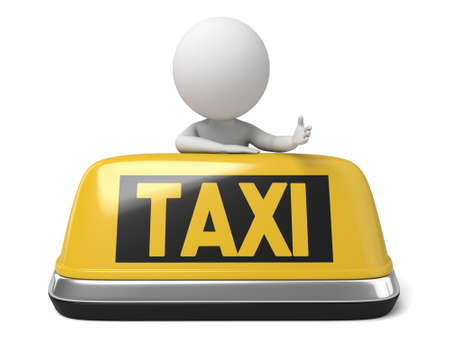 The 3d guy and his taxi car Stock Photo