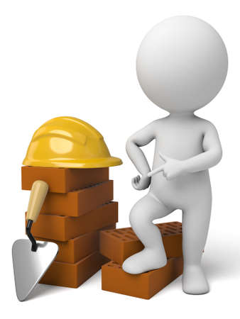 construction workers: The 3d guy is a builder Stock Photo