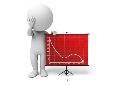 The 3d guy and a downward trend curve 스톡 콘텐츠