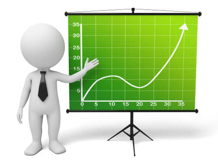 trend: The 3d guy and a up trend curve Stock Photo