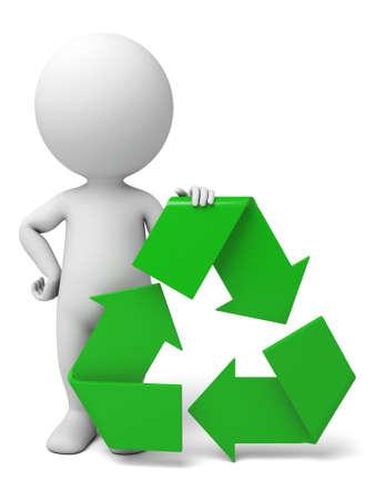 De 3d kerel en een teken van recycle Stockfoto