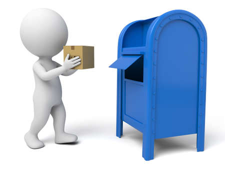 The 3d guy and a mailbox Stock Photo