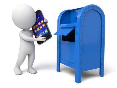 The 3d guy and a mailbox Banco de Imagens
