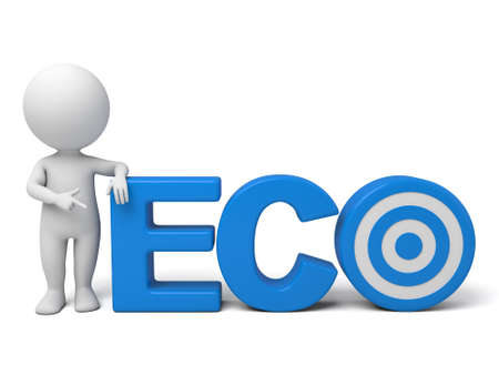 eco slogan: The 3d guy and a written  ECO of slogan Stock Photo