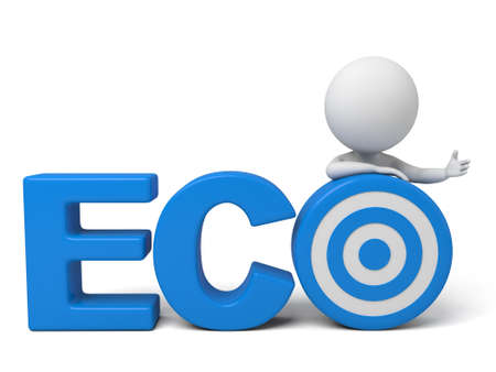 eco slogan: The 3d guy and a written  ECO  of slogan