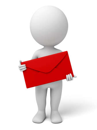 red envelope: The 3d guy and a red envelope Stock Photo