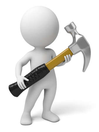 The 3d guy and a hammer Stock Photo