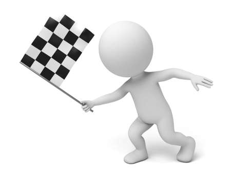 chequered: The 3d guy and a chequered flag